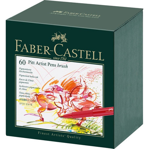 Faber Castell India Ink Pitt Artist Pen B Studio Box Of 60 - ucoomy