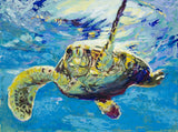 Tortuga (Sea Turtle) fine art print, limited edition canvas giclee