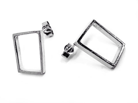 empty frame earrings - silver