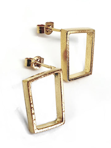 empty frame earrings - gold