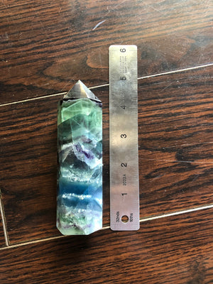 Vibrant Rainbow Fluorite Tower 8