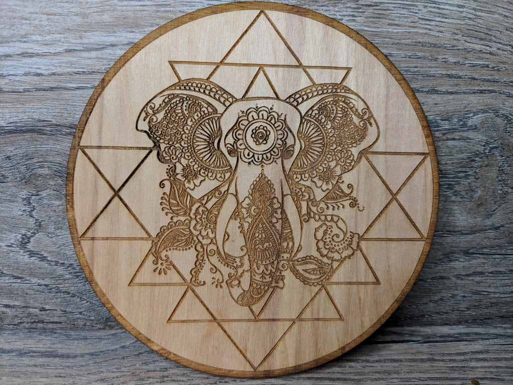 Sri Yantra Elephant Birch Wood Crystal Grid