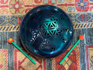 12 inch A minor 432 Hz Emerald Green Healing Drum