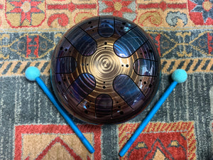 9 inch b minor 432 Hz Blue & Gold Healing Drum