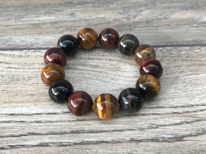 Gold, Red and Blue Tiger's Eye Bracelet