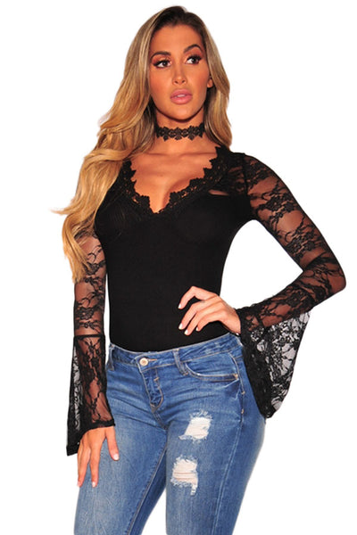 Lace Bell Sleeves Bodysuit