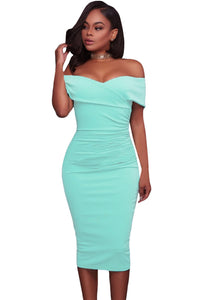 Off Shoulder Ruched Bodycon Midi Dress