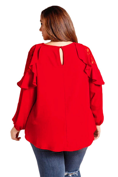 Drop-ship Plus Size Ruffle Trim Lace Cold Shoulder Blouse