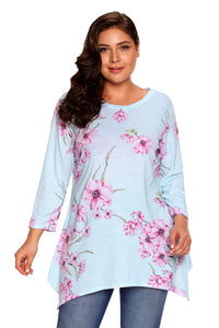 Plus Size Asymmetric Cut Floral Top