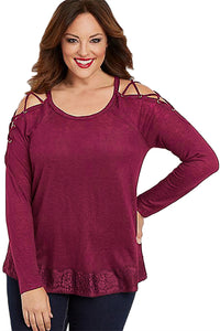 Drop-ship Plus Size Laced up Sleeves Top