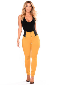 Buttoned Empire Waist Patched Leggings
