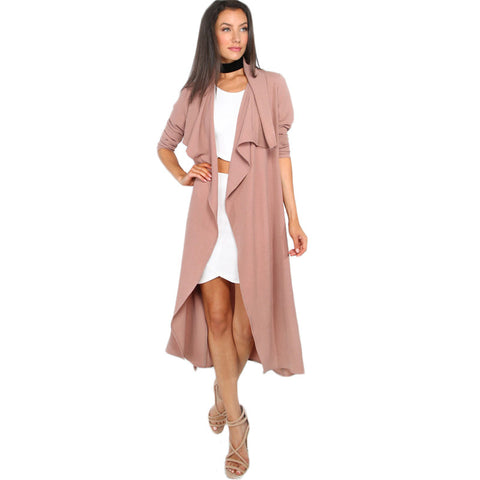 Coffee Open Front Long Sleeve Trench Coat