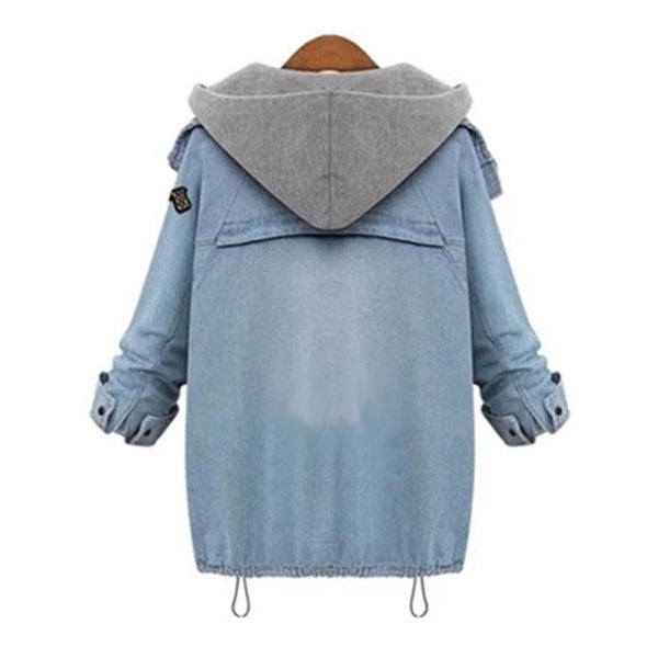 Hooded Drawstring Boyfriend Denim Jacket