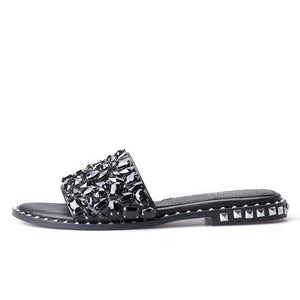 Black Diamond Rhinestone Slippers