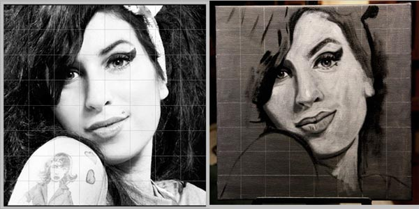 Grid to help paint Amy Winehouse portrait