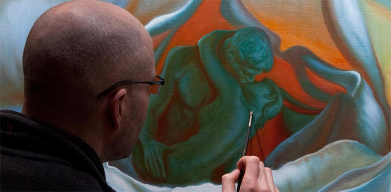 Vincent Keeling painting his large work of lovers within a rose