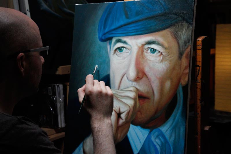Commissioned oil painting of Leonard Cohen
