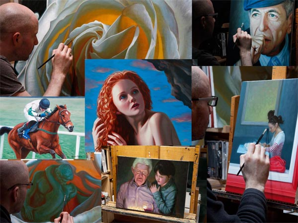 A montage of some of Vincent Keeling's paintings