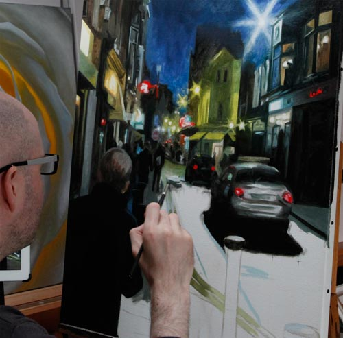 Oil painting by Vincent Keeling - A Dublin streetscape
