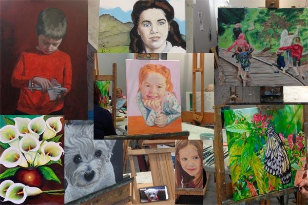 A montage of student paintings at Vincent Keeling's oil painting classes