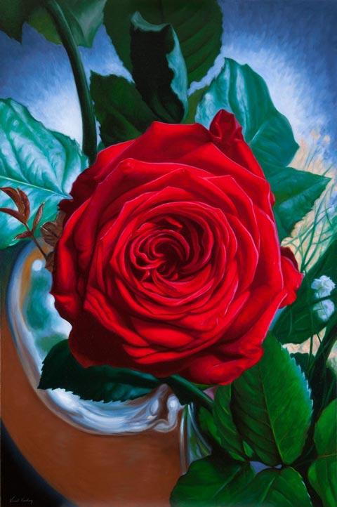 Oil painting of a red rose called Queen of the Garden