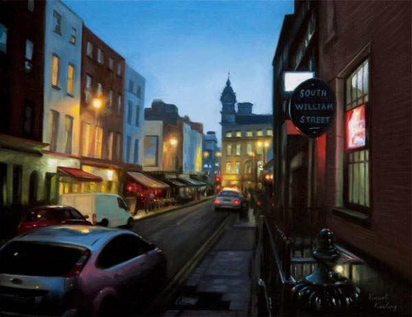 Oil painting of South William Street, Dublin 2