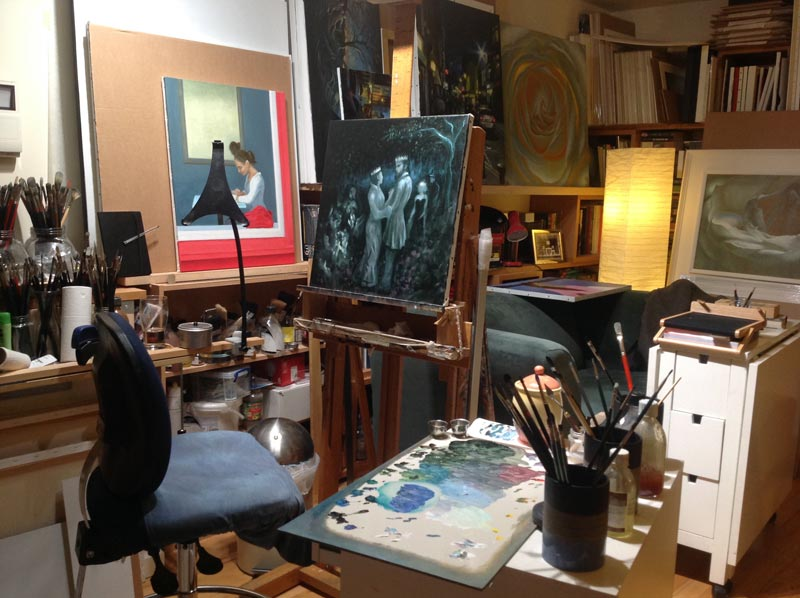 Enchanted Garden on the easel in Vincent Keeling's studio