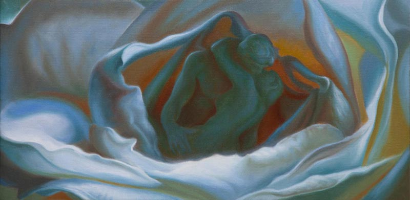 The Unfolding Kiss: A Study - An oil painting by artist Vincent Keeling
