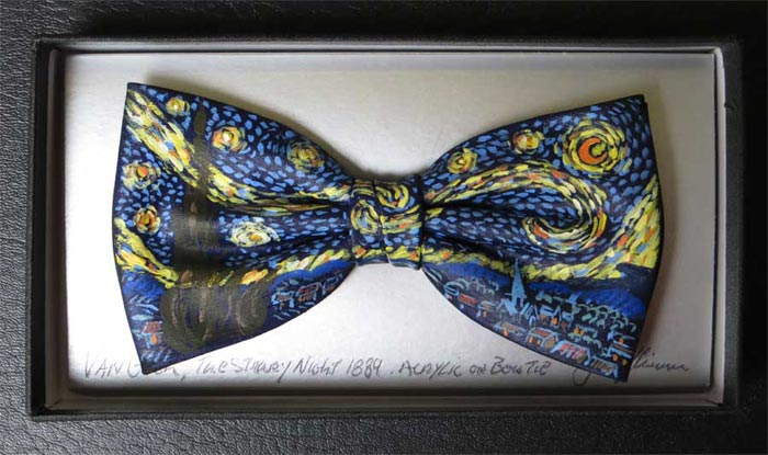 Hand painted bow ties by dublin artist john kirwan vincent keeling starry night van gogh bow tie voltagebd Choice Image