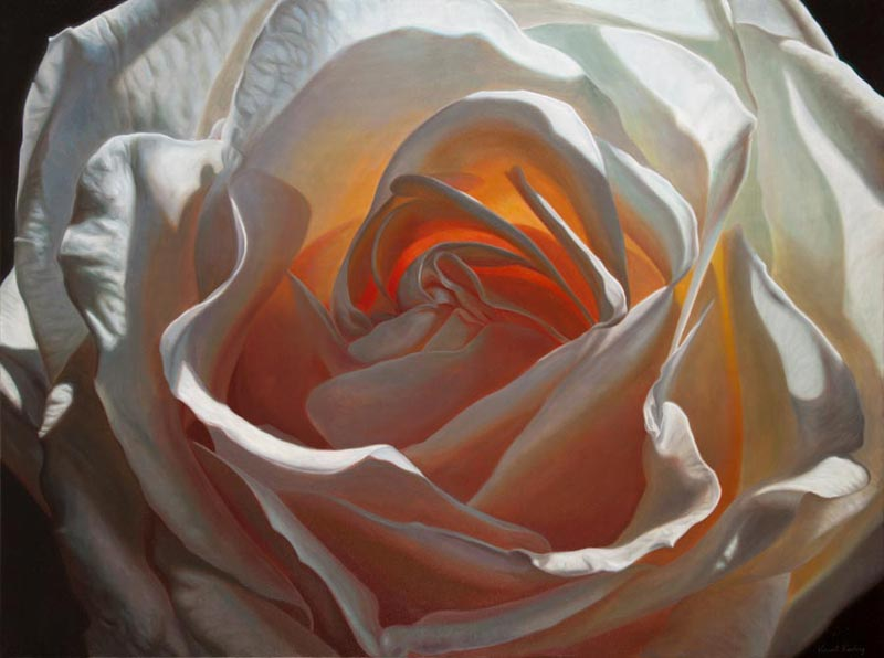 White rose oil painting titled Creation VII by artist Vincent Keeling