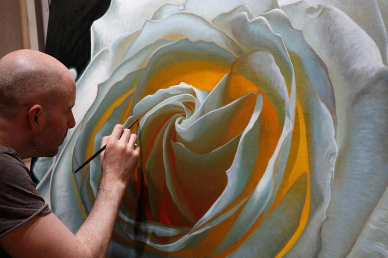 Oil painting of a rose called Creation V