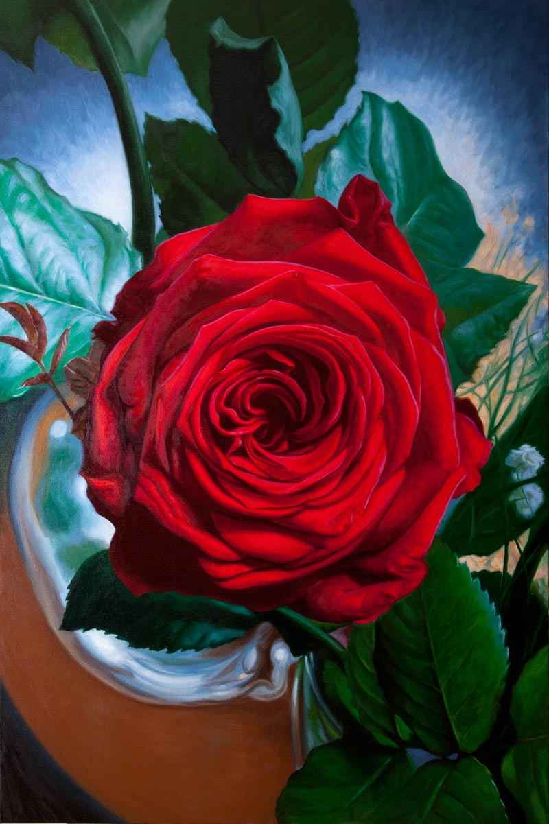Large canvas of a red rose oil painting by Vincent Keeling