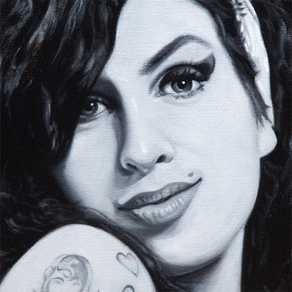 Detail of painting of Amy Winehouse