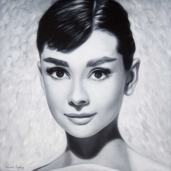 Giclee print of Audrey Hepburn, from oil painting, by Vincent Keeling
