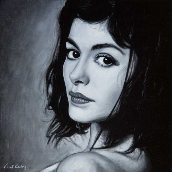 Portrait in oil on canvas of the Actress Audrey Tautou