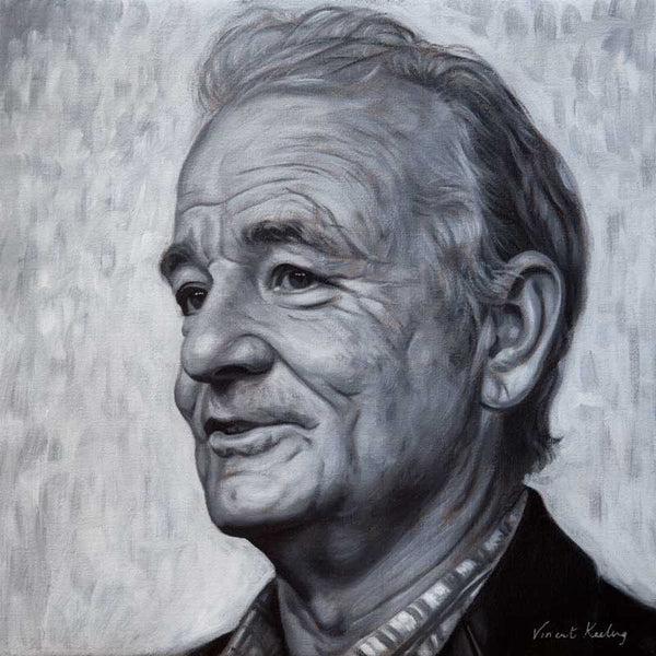 Portrait print of Bill Murray in black and white