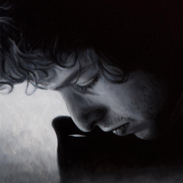 Detail of oil painting of Bob Dylan