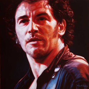 Print of a colour portrait of Bruce Springsteen names after his song Because the Night