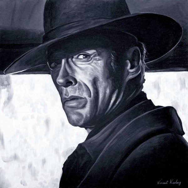 Fine art print, of Clint Eastwood in The Unforgiven, from portrait painting, by Vincent Keeling