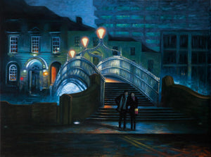 0 - Lovers by The Ha'penny Bridge - Large Oil Painting