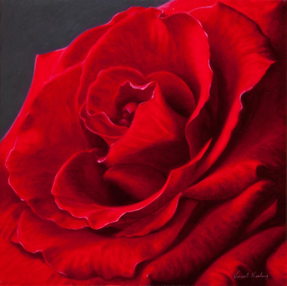 Inner Depths II - Red Rose painting