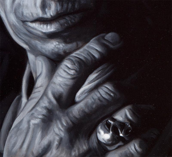 Detail of Keith Richards hand with skull ring