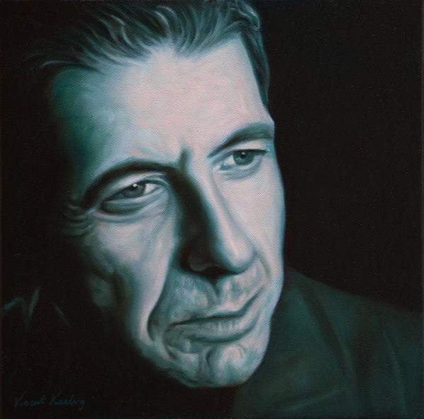 Portrait painting of Leonard Cohen in a cool green and pale pink
