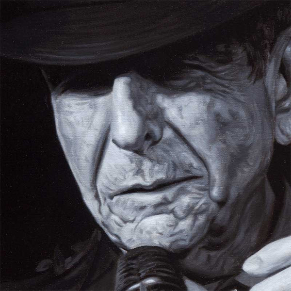 Detail from Leonard Cohen print
