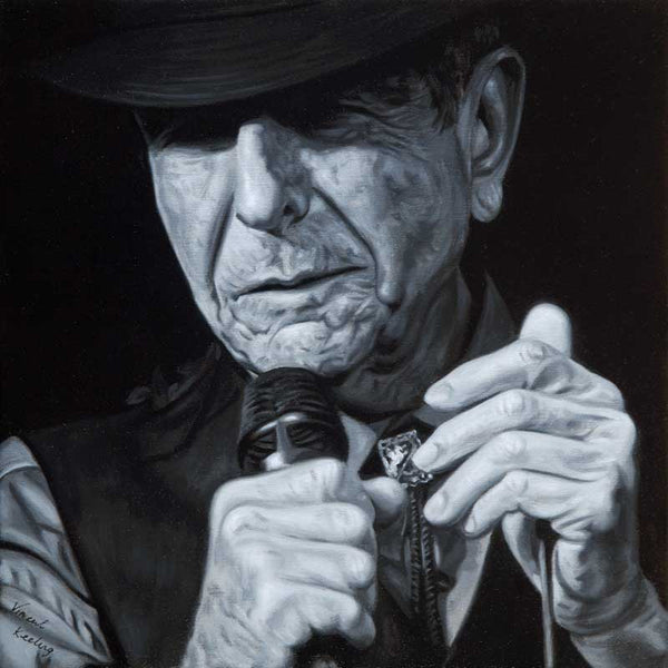 Portrait in oil on linen of Leonard Cohen, Dance me to the end of love