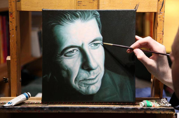 Picture of Leonard Cohen - Chelsea Hotel painting on the easel