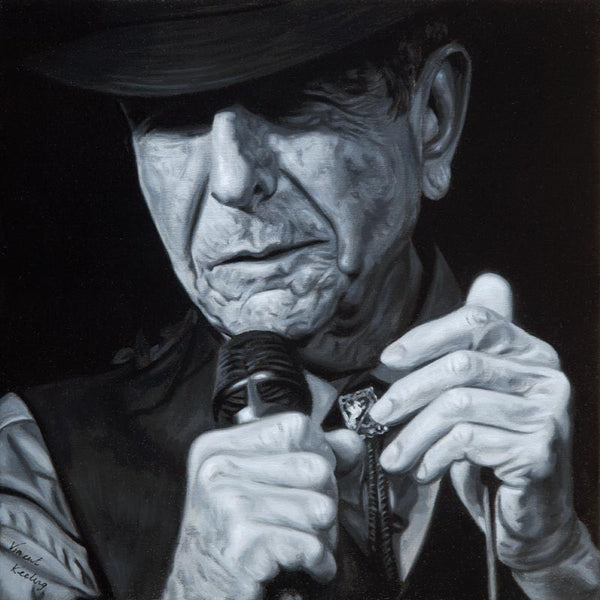 Print of Leonard Cohen in black and white