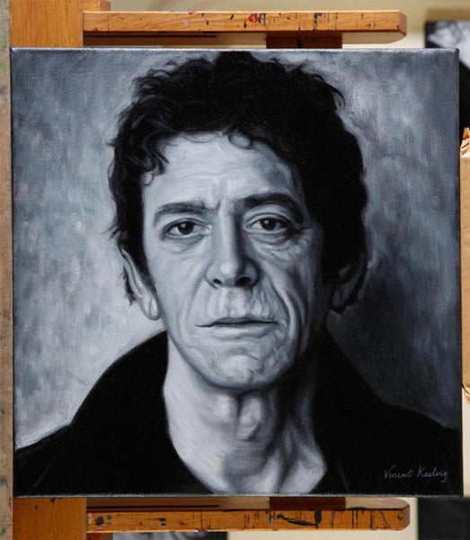 Lou Reed painting on artist's easel