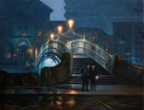 Lovers by The Ha'penny Bridge - Oil Painting - SOLD
