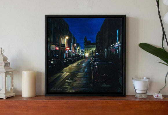 Night Lights on South William Street - Canvas Print with Floating Frame